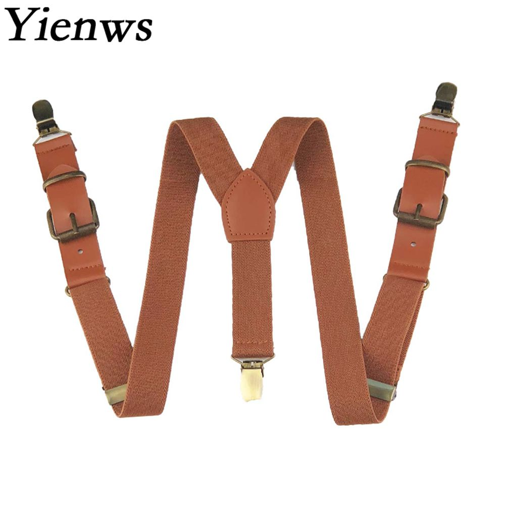 Yienws Kids Boys Suspenders Vintage Brown 3 Clip Button Brace for Pants Girls Stylish Leather Suspensorio Black Bretele YiA019