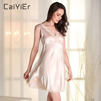 Caiyier 2018 Sexy Lace Nightgowns Women Hollow Halter Lingerie Nightwear Silk Slip Pink Sleepwear Red Nightgowns LLL7707