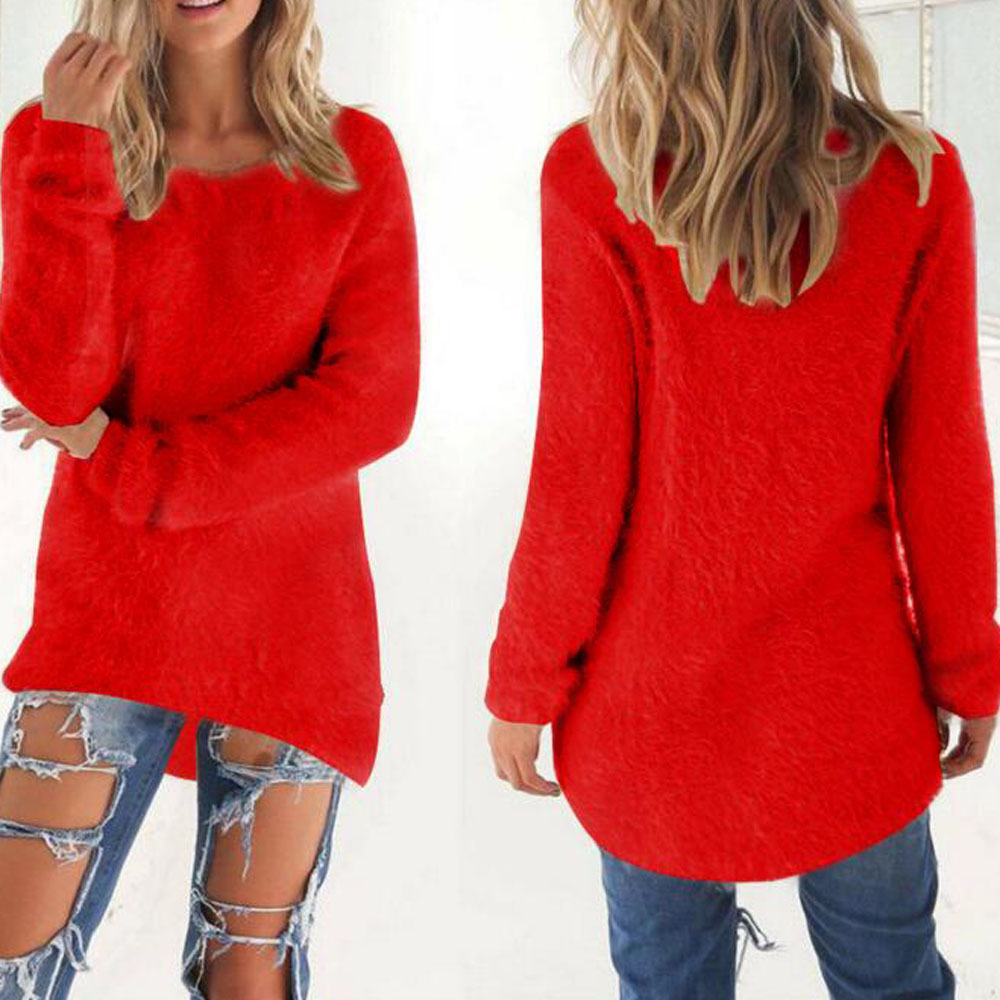 Hot Sexy Red Cotton Long Sleeve Winter Sweater Women Stretchy ...