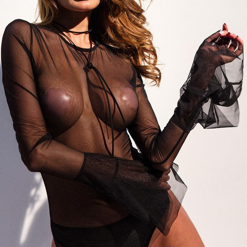 Bodies Woman Sexy See Trough Transparent Mesh Bodysuit Women Lace   Jumpsuit   Female Flare Sleeve Romper Long Sleeve Shirt
