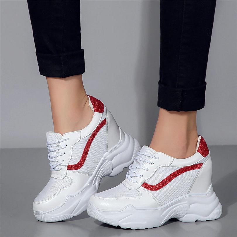 2019 womens High Wedge Heel Platform Trainers Athletic Sneakers Creeper shoes