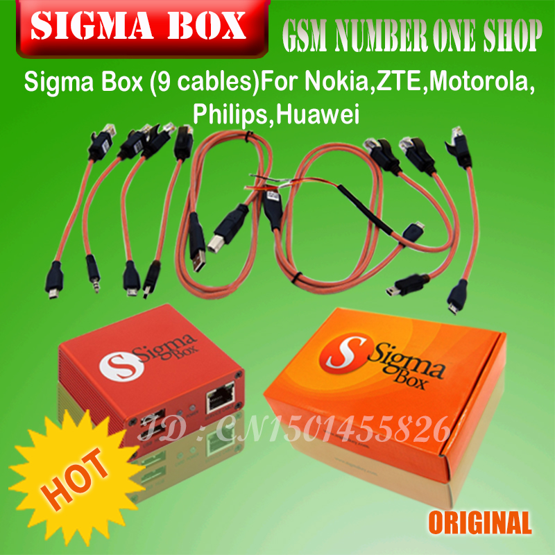 Gsmjustoncct оригинальный Сигма Box Sigmabox полный набор для мобильного телефона Unlock & Flash, и ремонта для China Mobile телефон/ nokia + 9 кабель