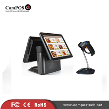 Dual 15inch touch screen RS232 USB interface with barcode scanner pos all in one system for Bakery