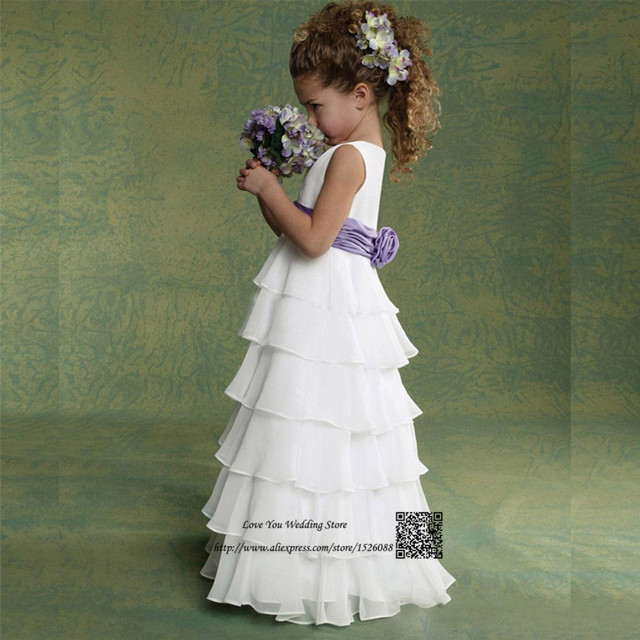 Ivory Cheap Flower Girl Dresses for Weddings Purple Pageant Dresses ...