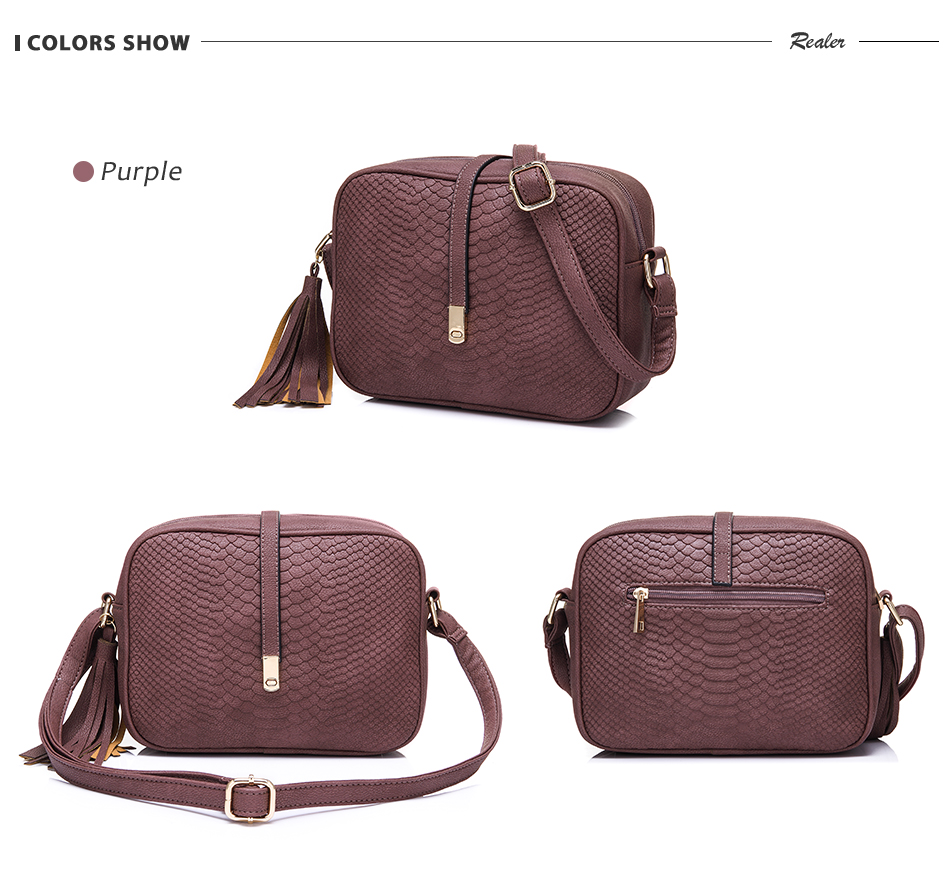 REALER brand small shoulder bag for women messenger bags ladies PU leather handbag purse tassels female crossbody bag women 2019 14