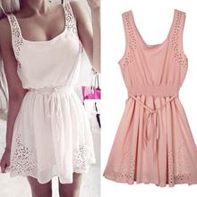 New Sexy Dress Slim Sleeveless Hollow White Women  Lady Chiffon Mini Vestidos casual Dresses white/pink Female