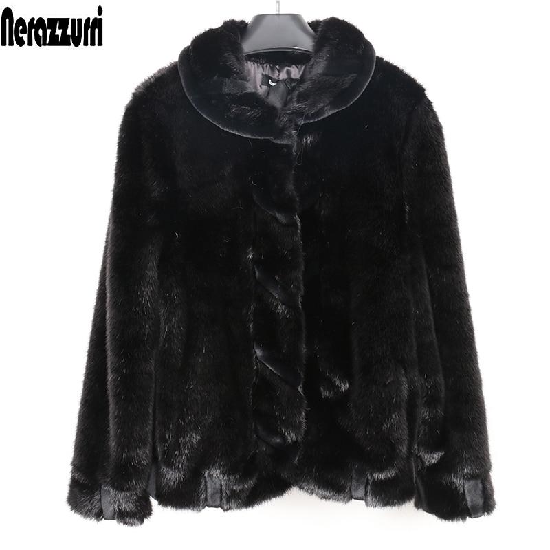 Nerazzurri Female Faux Fur Coat Woman Winter 2019 Long Sleeve Warm Short Fluffy Furry Fake Fur Bomber Jacket Plus Size 5xl 6xl