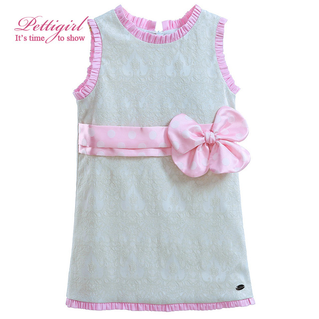 Pettigirl Baby Girls Straight Dresses With Pink Dot Bow Flower Jacquard Infant tank Dress Toddler Clothing  G-DMGD905-782