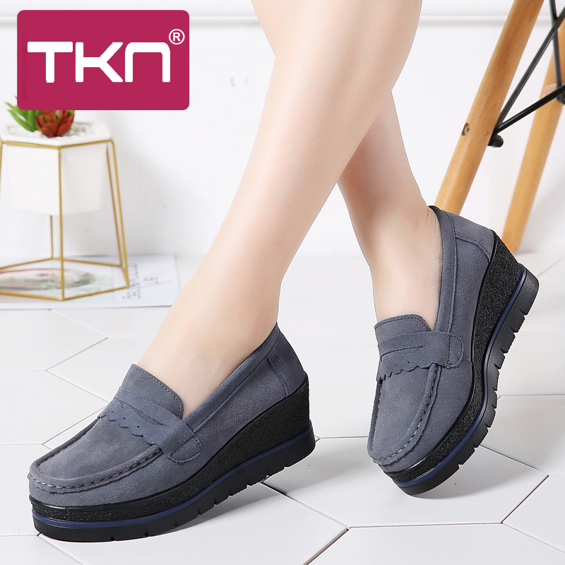 2019 Spring Women Platform Shoes Flats Sneakers   Leather     Suede   Slip on Thick Soles Chaussures Femme Creepers Shoes Woman 775