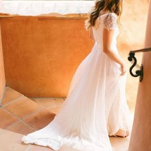 SINGLE ELEMENT Cap Sleeve Chiffon Long Ruffle Wedding Dresses
