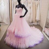 brides dresses for weddings 2018 Pink Wedding Dresses with Lace Applique Ball Gown vestidos de novia vestido de casa