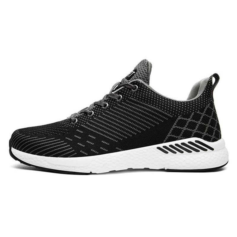 Big Size Sports Sneakers Cheap Lace Up Trail Running Shoes Mesh Breathable Black White Spring Autumn
