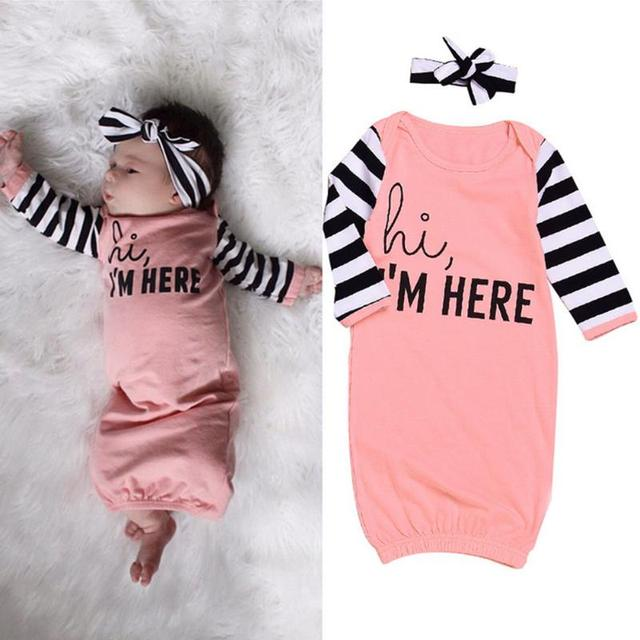 2pcs Spring Baby Girls Sleepware +Headband Set Stripe Sleeves ...