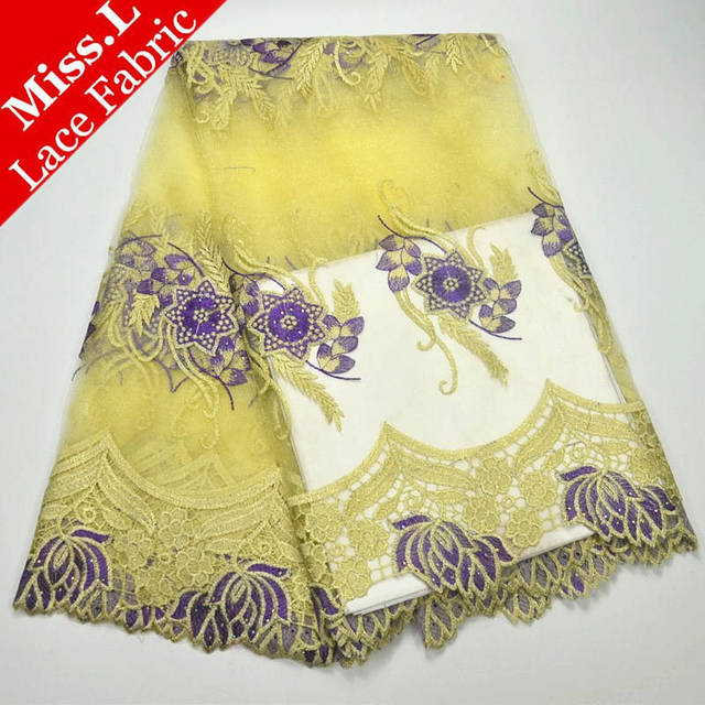 Miss L 2018 Latest Design African Lace Fabrics High Quality French tulle Laces Embroidery water ripple for Wedding dress sewing