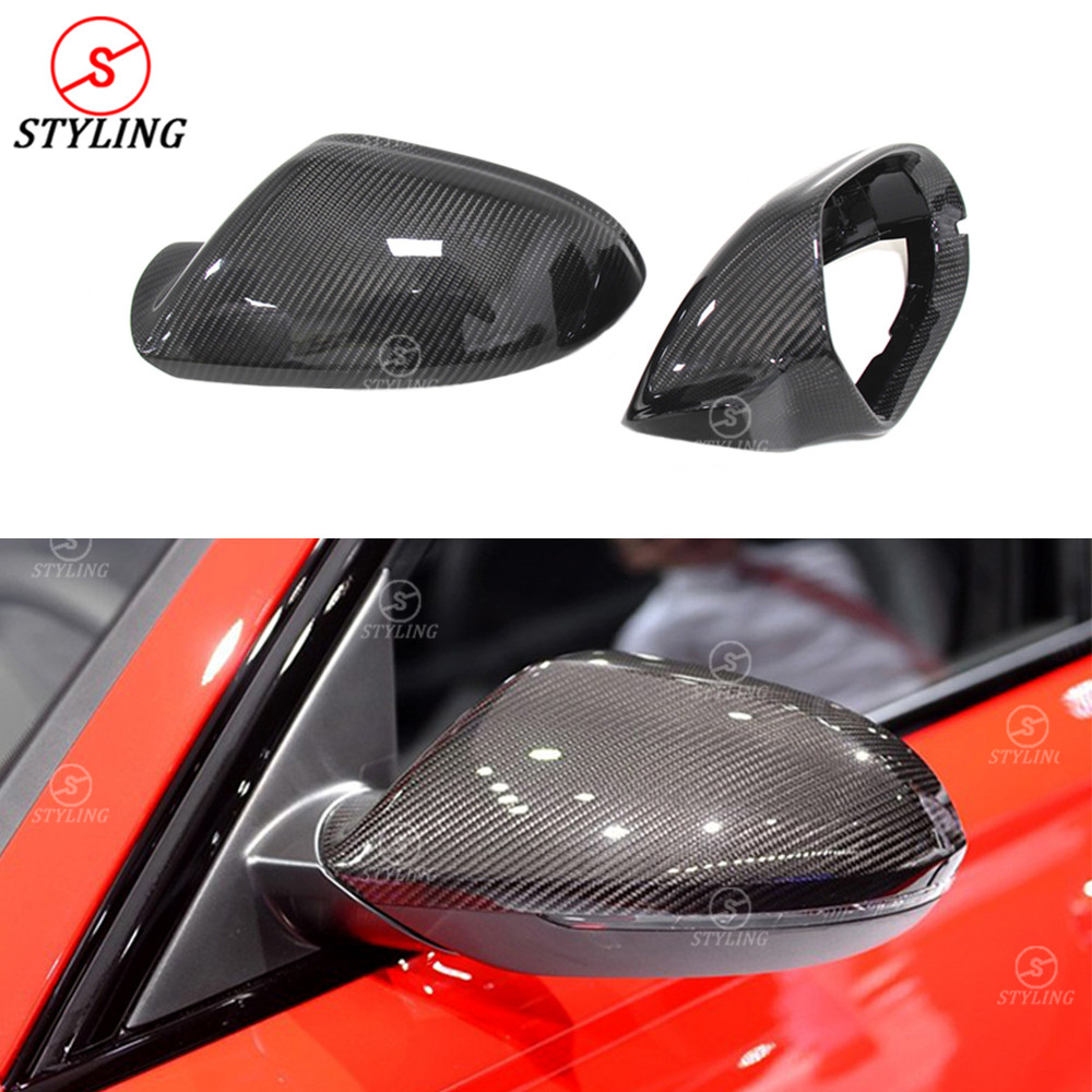 RS6 Carbon Fiber Mirror Cover For Audi A6 S6 Side Rear View Mirror case glossy Without