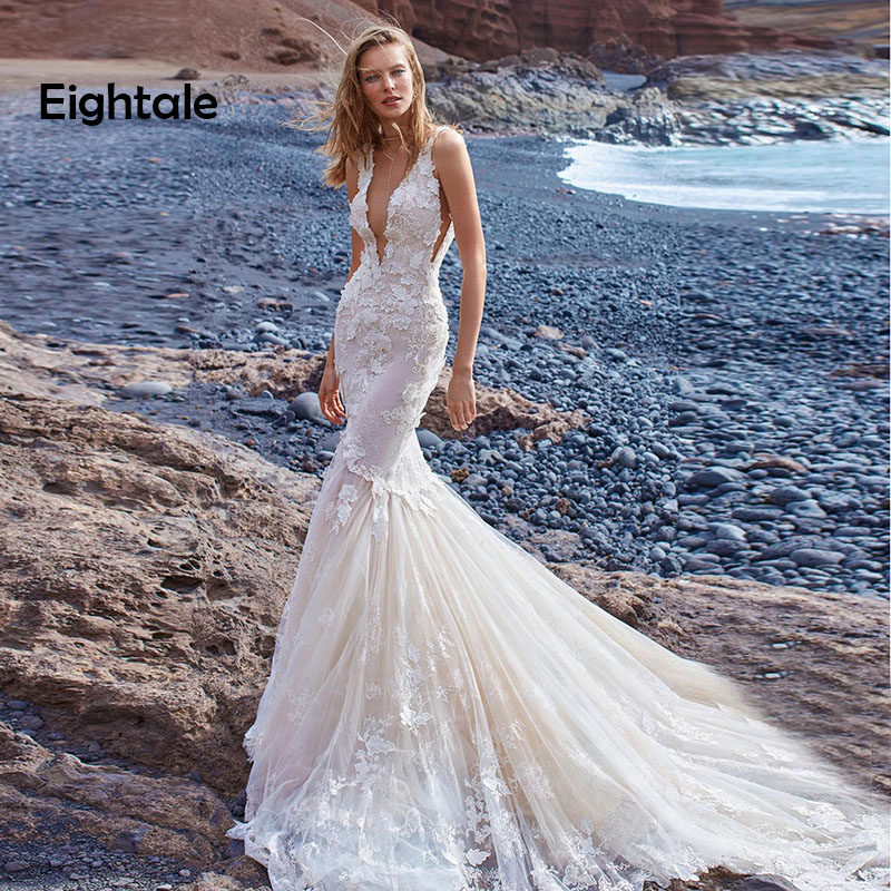 Eightale Boho Wedding Dresses Beach V Neck Wedding Gowns Backless Mermaid Princess Custom Made Romatic Bride Dress Free Shipping
