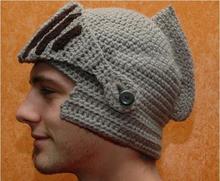 78b9738519b95 2016 Novelty New Roman Knight Helmet Caps Cool Handmade Knit Ski Warm  Winter Hats Men Women s