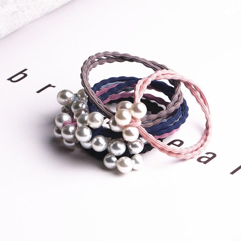 6 pçs pérola colorida dupla camada elástica conjuntos de faixa de cabelo acessórios para o cabelo meninas laço de cabelo artesanal faixa de borracha