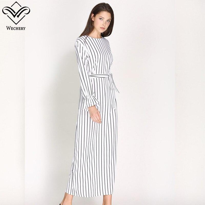Wechery Womens Striped Long Slim Long Abaya Muslim Women's Abaya