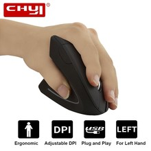 цена на CHYI Left Handed Wireless Vertical Ergonomic Mouse 2.4Ghz Optical Usb Computer Mause Left Hand 6 Button PC LED Mice For Laptop
