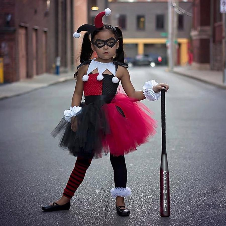 Harley Quinn Girls Tutu Dress with Headband and Mask Joker Fancy Children Halloween Birthday Costume Kids Party (2)