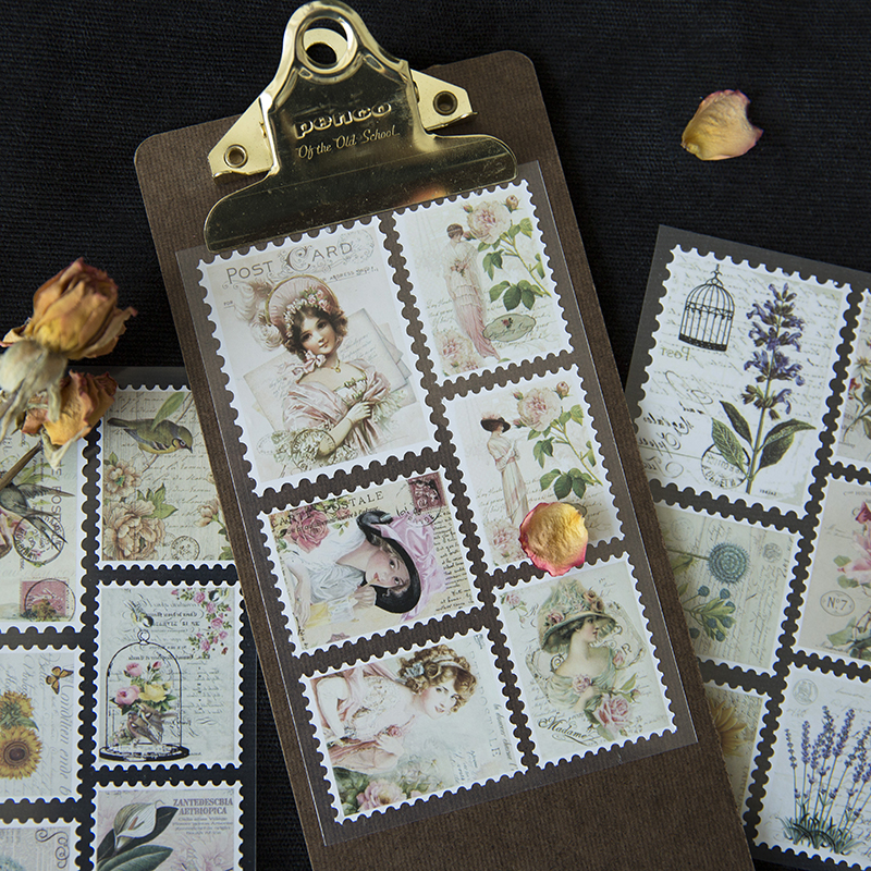 3 Sheets/Set Diy Vintage Retro Paper Stickers Stamp ...