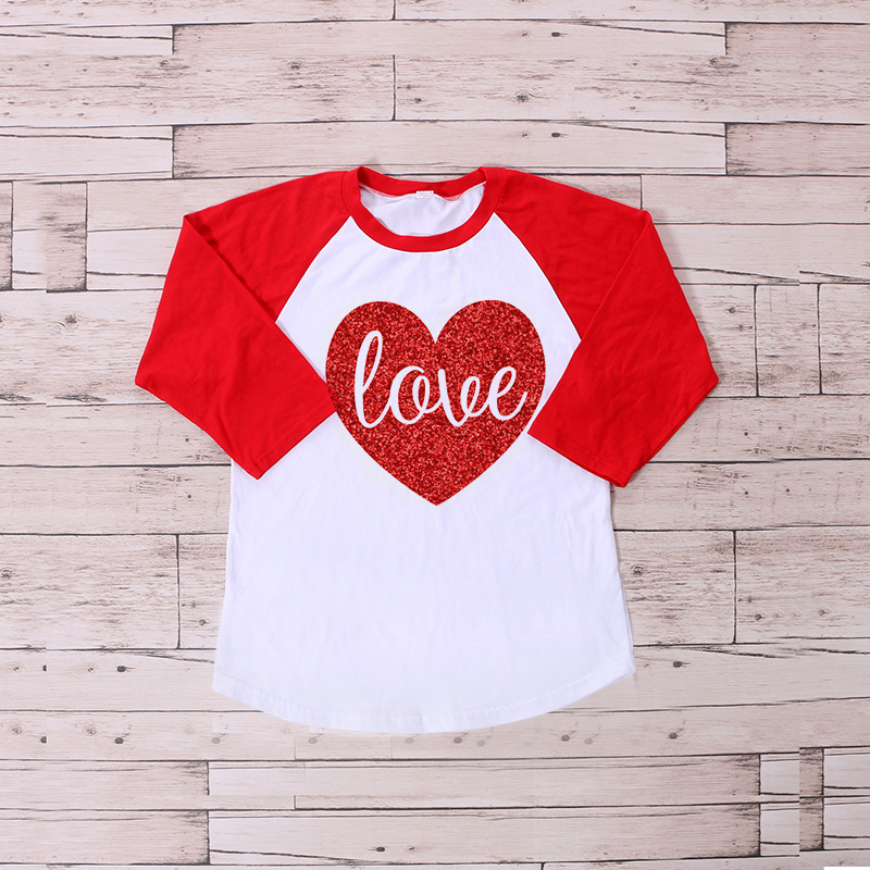 2017 Valentineu0027s Raglan Shirt Spring Ruffle Raglan Shirts Kids Icing  Raglans Top Valentine Print Heart Top Shirts Baby LOVE In Tees From Mother  U0026 Kids On ...