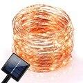 10 M 120 LEDs Cortina de Luz Ao Ar Livre Solar Fada Luz LED String Luzes De Fio De Cobre À Prova D' Água para o Natal Jardim de Casa partido