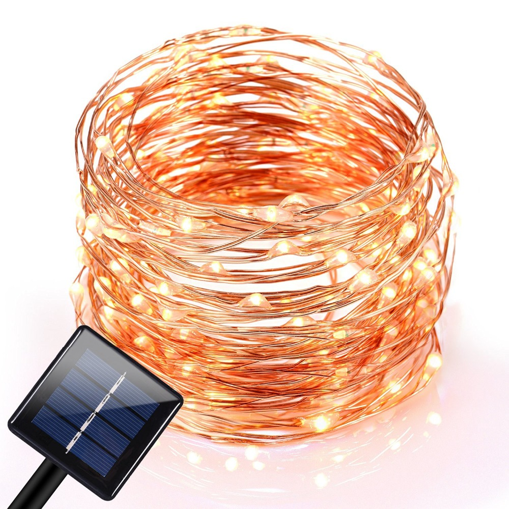 Solar Curtain String Lights : 10M 120 LEDs Outdoor Solar LED String Fairy Light Curtain Light Waterproof Copper Wire Lights ...