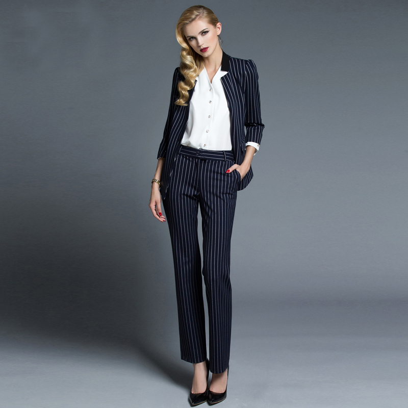 Fashion Women Fashion: 2015 Fashion Women's Blue Stripe Formal Suit With Pant
