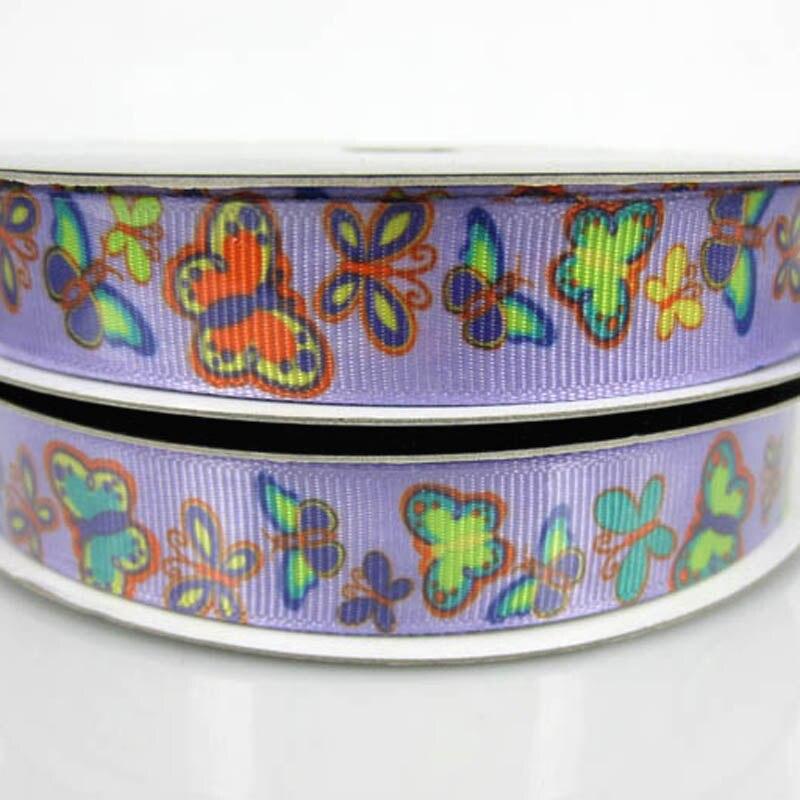 """10 метров Ширина 5/"""" с разноцветным принтом красивая бабочка Grosgrain ленты для судов Скрапбукинг 15 мм"""