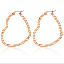 Hot Sale Rose Gold Silver Color Ear Stud For Women Men Big Exaggerated Heart Stainless Steel Earrings Fashion Jewelry