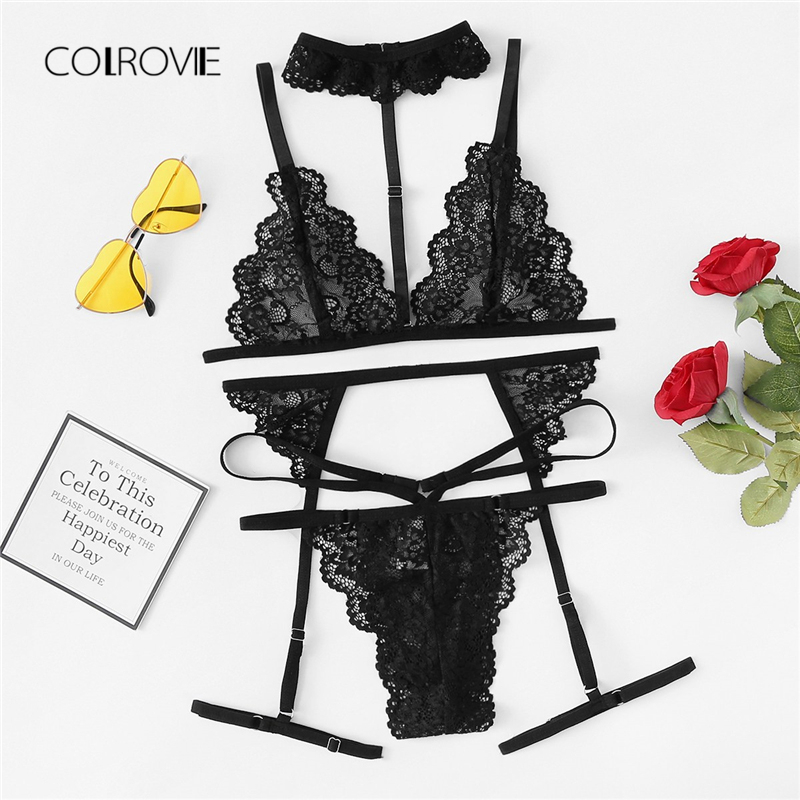 COLROVIE Black Sexy Floral Scalloped Trim Lace Lingerie Set New Women Bra And Thongs Sets Wireless Navy Sexy Underwear Bra Set