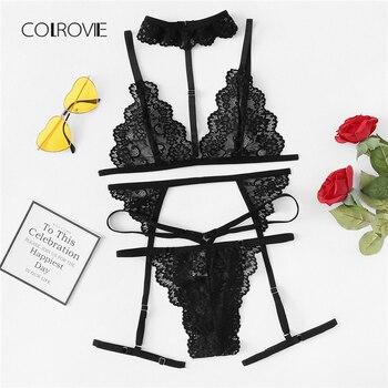 1822d3298 COLROVIE negro Sexy Floral ribete Encaje Lencería Set nuevo sujetador de  mujer y tangas conjunto inalámbrico