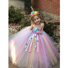 2019 Girls Unicorn Costume tutu Dresses Gentle Elegant Summer Dress for 2 3 4 5 6 7 8 9 10 11 Y Birthday Party Ceremony Wedding недорго, оригинальная цена