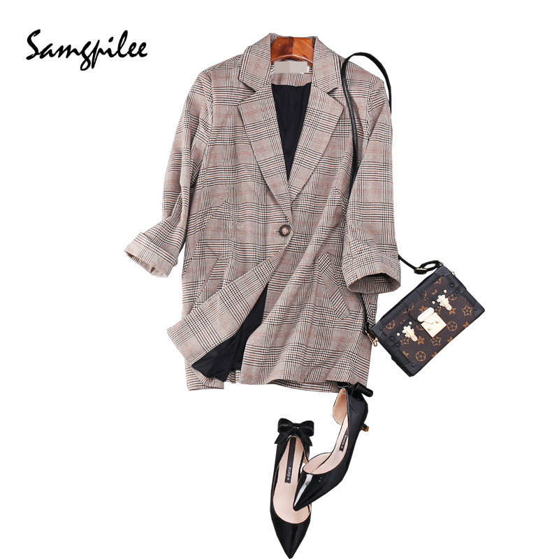 Blazer Women Autumn New Fashion Three Quarter Sleeve Plaid Single Button Notched Collar Appliques Casual Women Blazers L-4xl