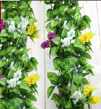 2.4m Artificial flower hyacinth Silk Flower Green Leaf Garland Home Wall Party Decoration Vine/Rattan - Natali Colthes Co.,LTD store