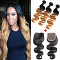 10A Virgin Blonde Brazilian Hair With Closure Ombre Brazilian Virgin Hair Two Tone Queen Hair Brazilian Body Wave With Closure
