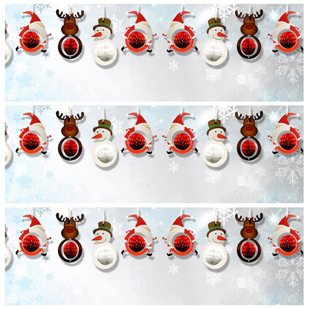 9pcs Christmas Paper Decoration Set Mini Honeycomb Santa Claus/Snowman/Reindeer Tree Ornaments Xmas Home Party Supplies