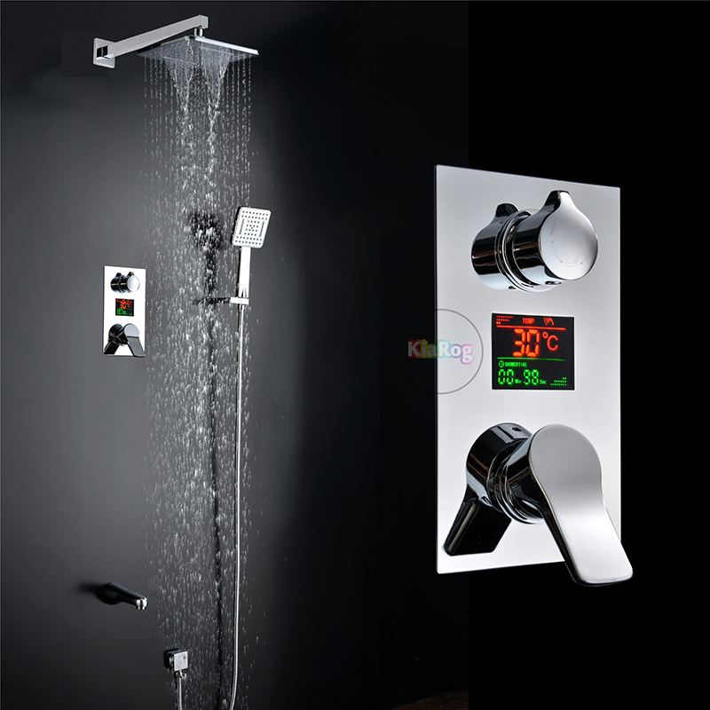 Bathroom LED Shower Set.3 Functions LED Digital Display Shower Mixer Concealed Shower Faucet 8 Inch Rainfall Shower Head freeshipping brass 10 inch led shower head led shower temperature led water led bathroom faucet shower