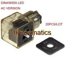送料無料20ピース/ロットac電圧電磁コイルプラグコネクタdin43650aワットledインジケータライト