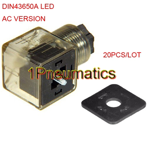 Free Shipping 20PCS/LOT AC Voltage Solenoid Coil Plug Connector DIN43650A W LED Indicator Light
