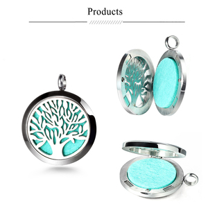 Image 5 - Top Sale Fashion Tree of Life 20mm/25mm/30mm Perfume Locket 316L Stainless Steel Essential Oil Diffuser Locket Pendant Necklace