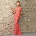 Plus Size Robe Demoiselle D'honneur Rendas de Luxo Vestido de Festa de Casamento Longo Chiffon Coral Da Dama de Honra Vestidos de Renda Sereia 2017 B119