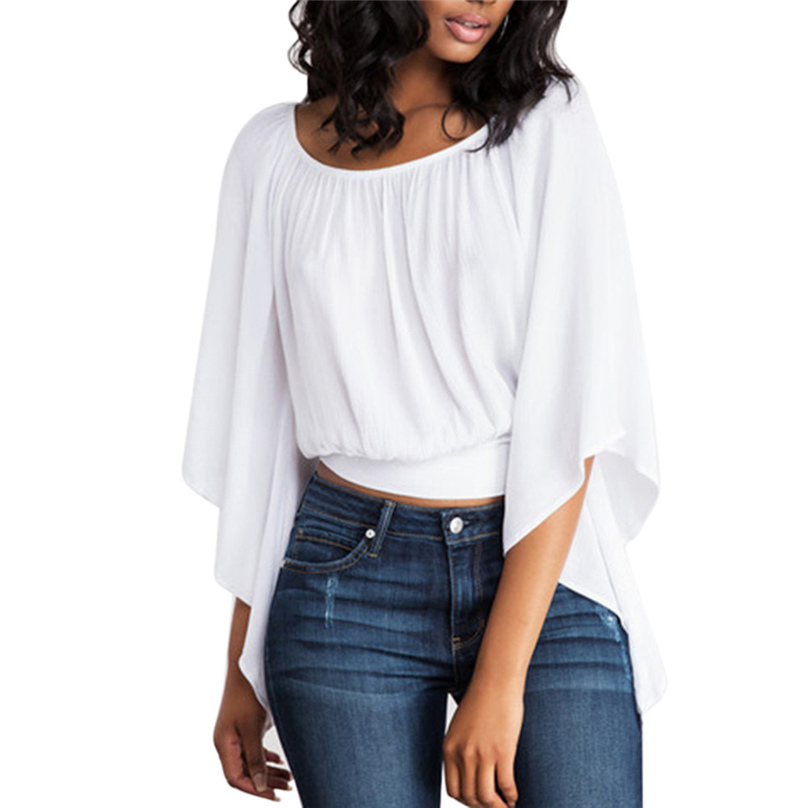 Women Fashion White Color O-Neck Blouse 2019 New 1/2 Batwing Sleeves Loose Style Pullovers Back Hollow Out Tops femme #TH