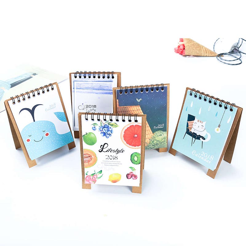 2018 Year New Kawaii Cartoon Calendar Creative Desk Standing Paper Multifunction Organizer Schedule Planner NoteBook