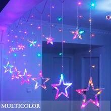 СВЕТОДИОДНЫЙ ночник в виде звезды, сказочный Рождественский светильник, праздничный светильник ing 220 V/3AAA, на батарейках, занавес, гирлянда, декоративный светильник