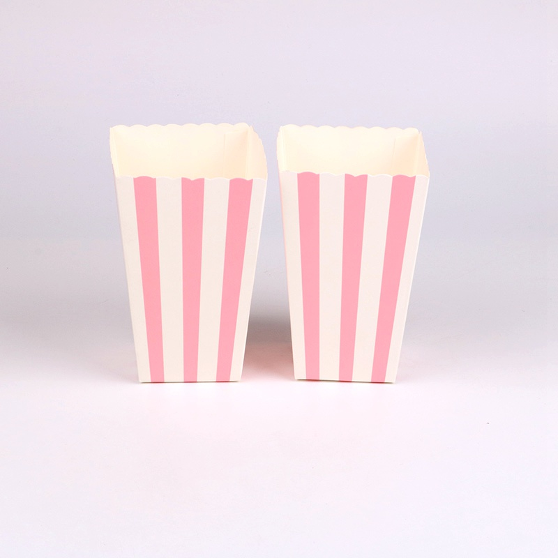 6 Pcs/lot Simple Pink Stripes Popcorn Boxes Birthday Party Wedding Baby Shower Party Decorations Kids Event Supplies