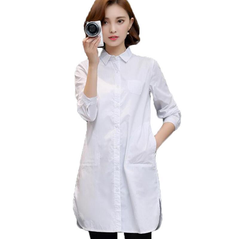 afa89f3c5604 Blusa blanca para Mujer 2019 nueva moda OL Camisa larga para Mujer Tops  manga larga cuello vuelto Casual Blusas Mujer plus tamaño S-5XL