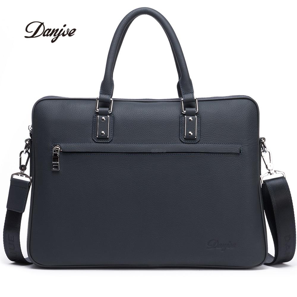 DANJUE Genuine Leather Men Briefcase Fashion Solid Luxury Handbag High Quality Business Man Laptop Bag Brand Shoulder Bag